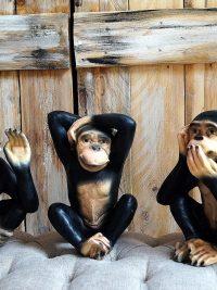 drei Affen nichts sehen hören sagen dekofigur gartenfigur maskenpflicht garten fantasy