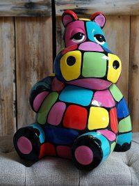 hippo geschenkartikel bunte figur dekofigur kunstharz gartenfiguren garten fantasy
